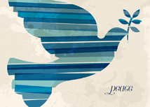 Blue Striped Dove of Peace Holiday Greeting Card