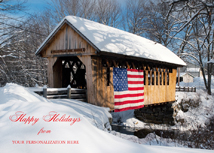 Patriotic Covered Bridge Winter Snow Scene Holiday Card